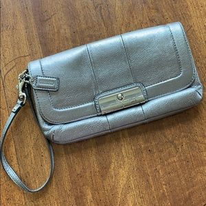 Coach clutch metallic leather